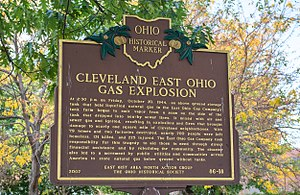 Cleveland East Ohio Gas explosion - Historic signage in Grdina Park, just south of the site of the LNG tank farm.