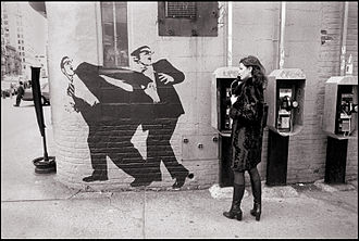 East Village, Manhattan - A wall in the East Village in 1998, featuring a mural of two men