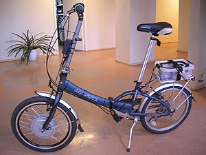 Photo of a power-assisted bicycle with a front...