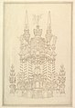 Elevation of a Catafalque- Wreathed Columns Supporting a Stepped Dome Surmounted by 2 Obelisks with Figure of Saturn between Them. MET DP820118.jpg