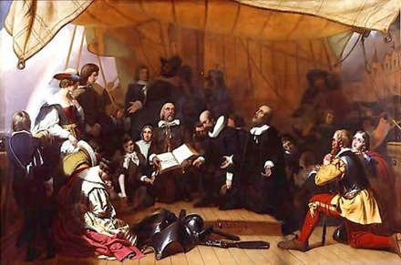 The Embarkation of the Pilgrims from Delfthaven in Holland (1844) by Robert Walter Weir Embarkation-Weir.PNG