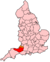 Location of Somerset within England.