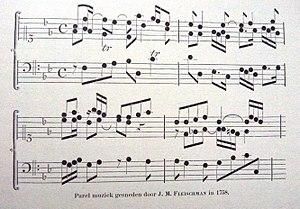 Joan Michaël Fleischman - Image: Enschede J.M. Fleischman 1758 parel muziek font