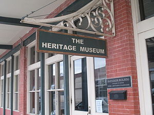 Heritage Museum exhibits paleo-Indian artifacts, African-American history, the German heritage, and more. Entrance to Heritage Museum, Seguin, TX IMG 8175.JPG