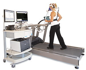 Exercise physiology - Ergospirometry laboratory for the measurement of metabolic changes during a graded exercise test on a treadmill