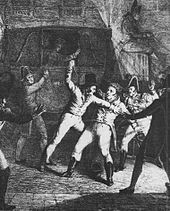The assassination attempt on the Duke of Berry by Louis Louvel (contemporary illustration)
