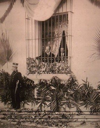 Manuel Estrada Cabrera - President Estrada Cabrera watching a processing from his balcony.  This was a common occurrence before the assassination attempt of 1908.