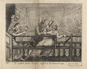 James Sayers - James Sayers, satirical engraving of Robert Willan based on a dispute over a pew at the Foundling Hospital