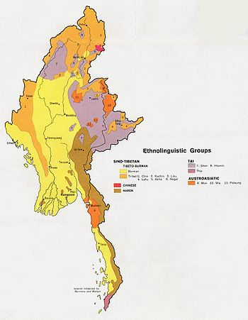 English: Ethnolinguistic groups of Burma.