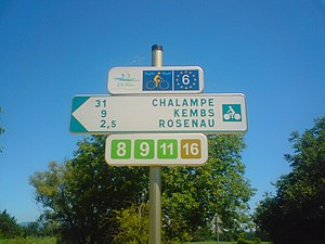 EV6 The Rivers Route - EuroVelo 6 route sign at Saint-Louis France, near both the Swiss city of Basel and the German border.