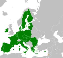 Mapo indikante lokojn de Eŭropa Unio kaj Palestino