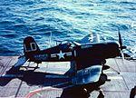 F4U-4 VMF-212 on cat of USS Badoeng Strait (CVE-116) 1952.jpeg