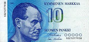 Finnish markka - 10 markkaa reverse