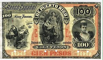 Currencies of Puerto Rico - Image: FRONT 100 Pesos bank note of 1894 Banco Español de Puerto Rico