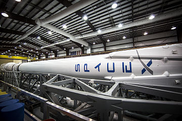 Falcon 9 with ORBCOMM OG2-M1 in SLC-40 hangar (16236322133).jpg