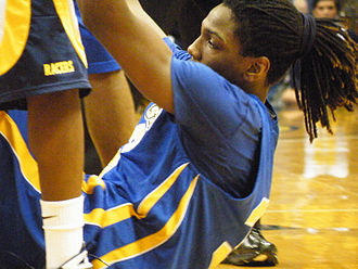 Kenneth Faried - Kenneth Faried in a game at Morehead State in his sophomore season being helped up off the floor after a foul.