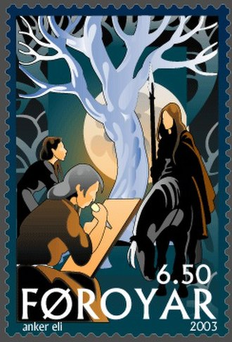 Skuld - ...and the youngest Norn, she who is called Skuld, ride ever to take the slain and decide fights...Faroe stamp by Anker Eli Petersen depicting the norns (2003).