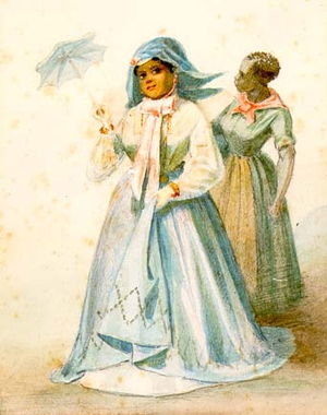 Plaçage - Creole woman of color with maid, from a watercolor series by Édouard Marquis, New Orleans, 1867.