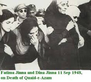 Dina Wadia - Wadia (left) with her aunt Fatima (right) at the funeral of her father, 1948