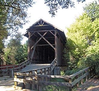 California Historical Landmarks in Santa Cruz County, California - Image: Felton, California covered bridge