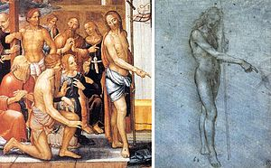 Leonardeschi - Fernando Yáñez de la Almedina and Leonardo da Vinci. Christ Resurrected (Cathedral of Valencia) and drawing of nude St John the Baptist (Windsor Royal Collection)