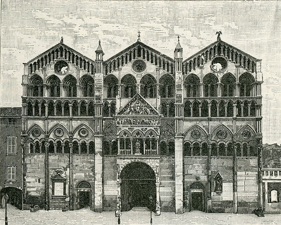 Façade de la Cathédrale de Ferrare en Italie vers 1900.