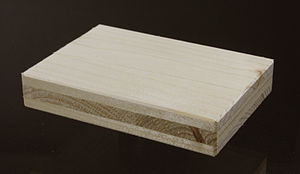 Cross laminated timber - CLT-plate with three layers made from spruce