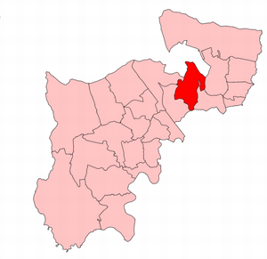 Finchley (UK Parliament constituency) - Finchley within the parliamentary county of Middlesex, boundaries used 1945–50