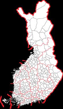 Suddivisioni amministrative della Finlandia al 2008. In confini rossi corrispondono alle regioni, quelli neri ai comuni