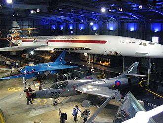 Fleet Air Arm Museum - Hall 4 showing Concorde 002, Bristol Scout, BAC 221 and Hawker Hunter T8M