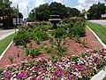 Flower bed and fountain on BUS 84, Enterprise.JPG