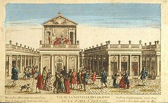 Théâtre de la foire - The Foire Saint-Germain after its reconstruction in 1763. A parade, a short comic entertainment to entice passersby to buy tickets, is being performed on the balcony of Nicolet's theatre.