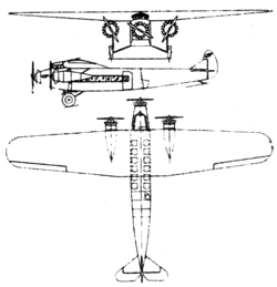 Fokker F-10 3-view Le Document aéronautique November,1928.png