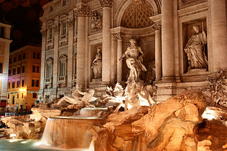 Trevi Fountain - Sculptures at night