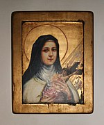 Saint Therese of Lisieux with her attributes