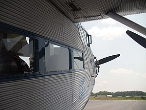 Ford Trimotor - Externally mounted control wires of a Ford Trimotor