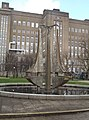 Fountain sculpture at Aston University - Tipping Triangles (12861780293).jpg