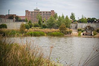 Historic Fourth Ward Park - North end of pond facing Ponce City Market, mid-2012