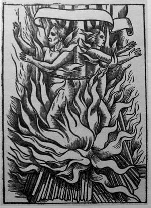 John Foxe -  Dual martyrdom by burning, 1558; from a 1641 edition of Foxe.