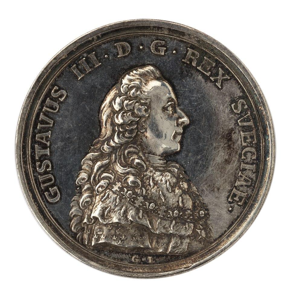Framsida av medalj med bild av Gustav III, 1777 - Skoklosters slott - 99545
