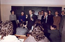 Franois Mitterrand Walking Around The School During His Visit To Bulgaria In 1989