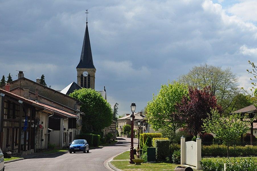 The Grande Rue in Beaulieu-en-Argonne (canton Seuil-d'Argonne, Meuse department, Lorraine region, France).