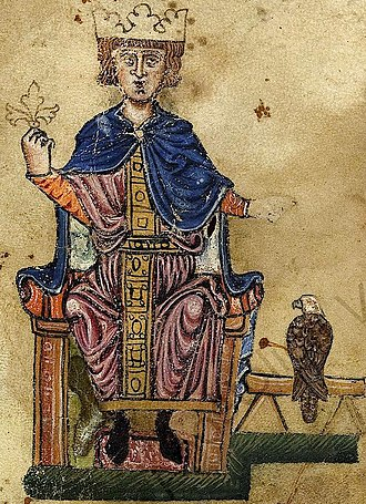 "Frederick II, Holy Roman Emperor - Portrait from the  ""Manfred manuscript""  (Biblioteca Vaticana, Pal. lat 1071) of De arte venandi cum avibus."