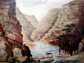 Sarili kaHintsa - A column of Sarili's gunmen, crossing a ravine in the frontier mountains, during the Eighth Frontier War.