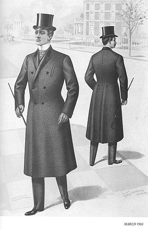 English: A frock overcoat (front and back view)