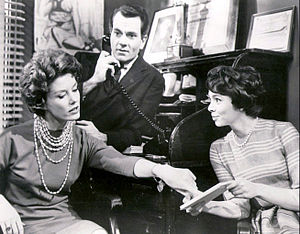 From These Roots - Scene from the show.  From left: Ann Flood, Robert Mandan, and Sarah Hardy, 1961