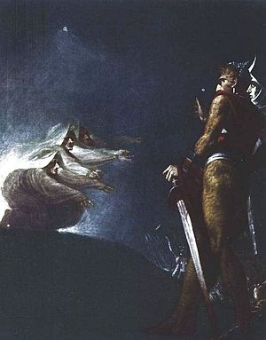 Macbeth, King of Scotland - Macbeth and the witches by Henry Fuseli (Johann Heinrich Füssli) (1741–1825)