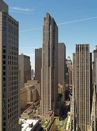 Rockefeller Center - View from the northeast of 30 Rockefeller Plaza at the heart of the complex