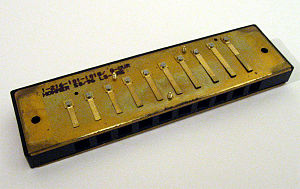 Harmonica - Reed plate mounted on the comb of a diatonic harmonica, one of several categories of harmonica.