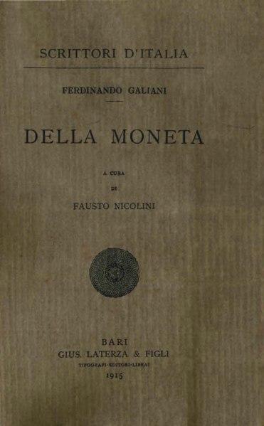 File:Galiani, Ferdinando – Della moneta, 1915 – BEIC 1825718.djvu